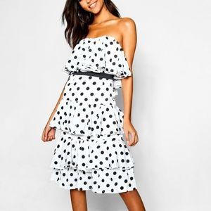NWT Strapless Polka Dot Midi Dress